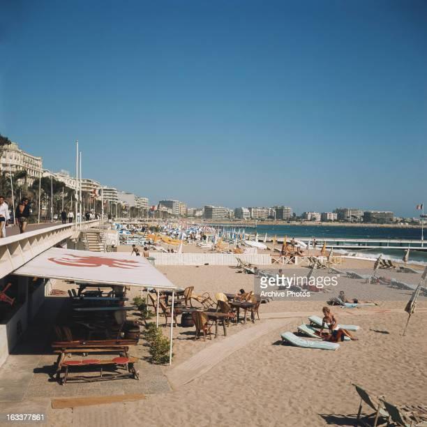 The beach at Cannes France circa 1970