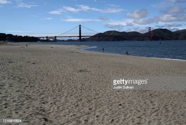The beach at Crissy Field is nearly empty on March 30 2020 in San Francisco California Officials in seven San Francisco Bay Area counties have...