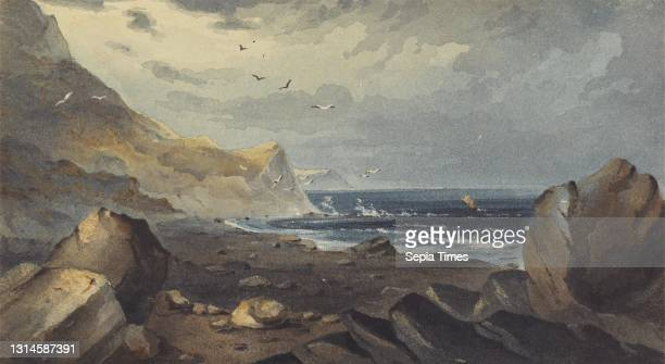 The Beach at Culbone, Somerset, unknown artist, , formerly attributed to John Martin, 1789–1854, British Watercolor with graphite and scratching out...