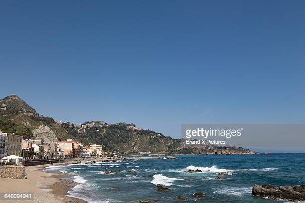 the beach at giardini naxos - naxos sicily stock pictures, royalty-free photos & images
