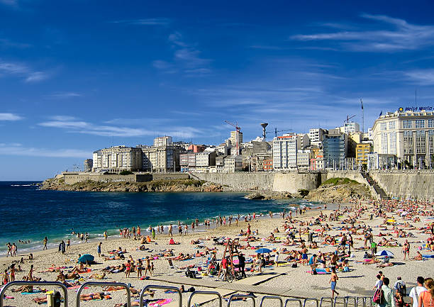 The beach at Playa de Riazor in La Coruña