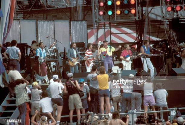 The Beach Boys are shown performing in concert at Live Aid in Philadelphia on July 13, 1985.