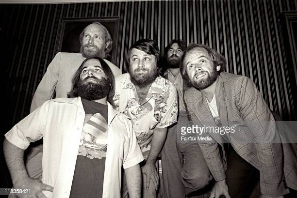 The Beach Boys at their press conference at the Boulevard Hotel in Sydney on 2 March 1978 Left to right Carl Wilson Mike Love Brian Wilson Dennis...