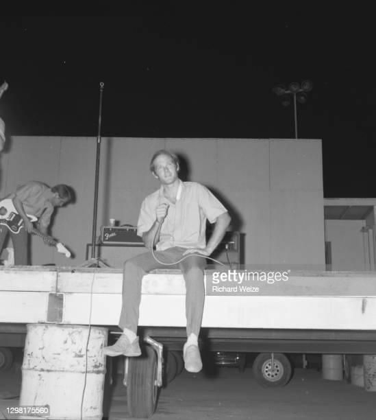 The Beach Boys before performance at the Arizona State Fairgrounds August 5, 1964 in Phoenix, Arizona.