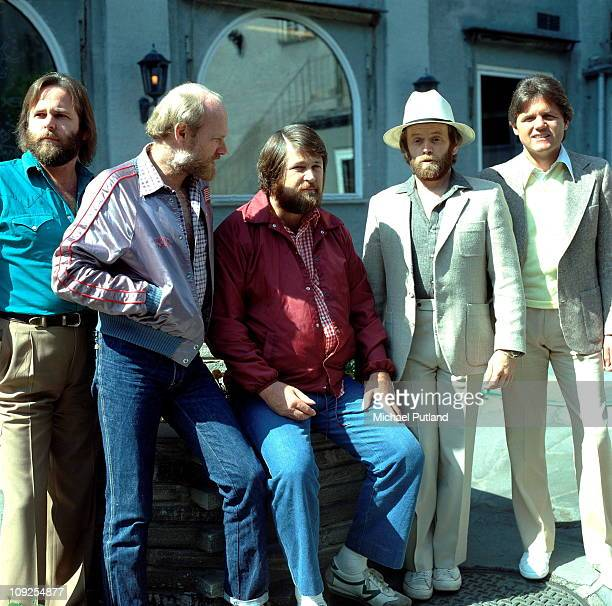 The Beach Boys group portrait England June 1980 LR Carl Wilson Mike Love Brian Wilson Al Jardine Bruce Johnston