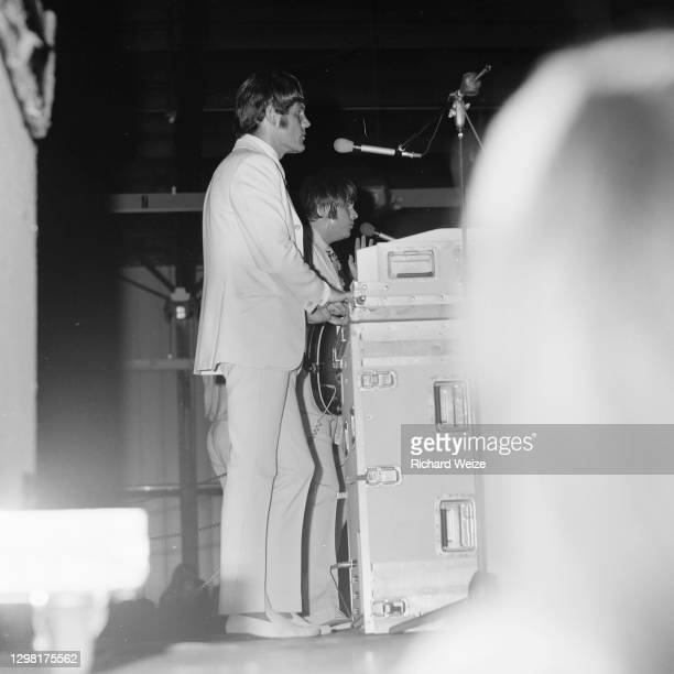 The Beach Boys perform at the Arizona State Fairgrounds August 5, 1964 in Phoenix, Arizona.