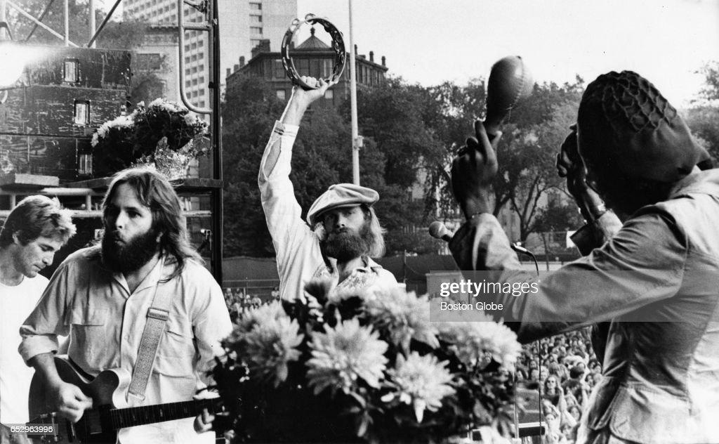 The Beach Boys perform on Boston Common in Boston on Aug. 23, 1972.