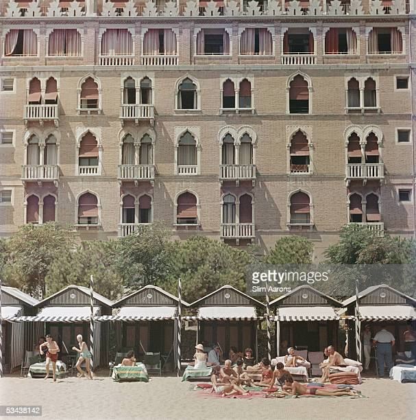 The beach front of the luxurious Excelsior Hotel on the Venice Lido 1957
