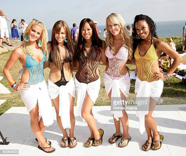 The Beach Girlz singers Laura New Mandy Jiroux Noreen Juliano Brooke Adams and Dominique Domingo poses together during the McDonald's Big Mac 40th...