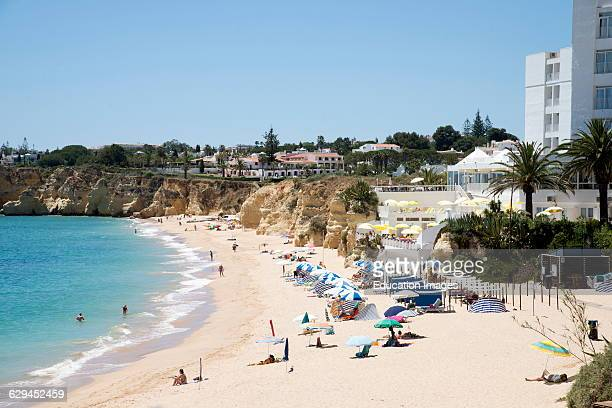 The beach in the Algarve town of Armacao de Pera southern Portugal