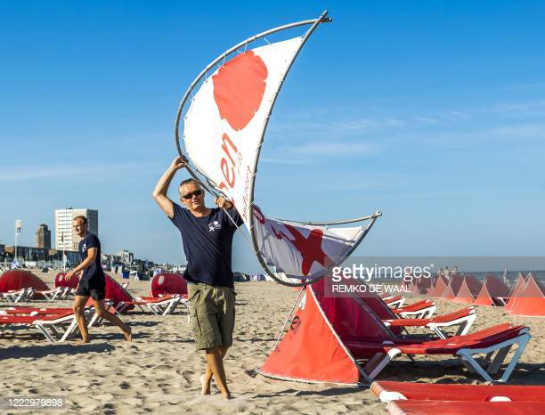 The beach is prepared at Zandvoort on June 26 ready for the upcoming weekend which is expected to be busy due to the warm weather. / Netherlands OUT