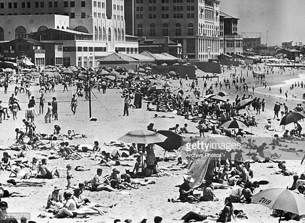 The beach next to the Waverly Club in Santa Monica California circa 1950