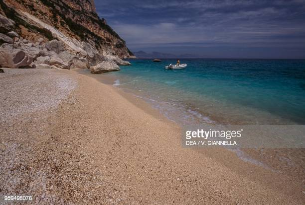 The beach of Cala Goloritze National Park of the Bay of Orosei and Gennargentu Ogliastra Sardinia Italy