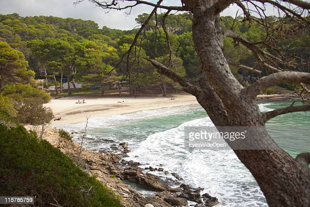 The beach of Cala Macarella on October 09, 2010 in Menorca, Spain. Menorca is the second largest of the Balearic Islands in the Mediterranean Sea and...