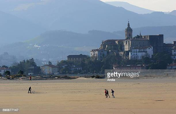 The beach of Hendaye and the village of Hondarribia in the Spanish Basque Country