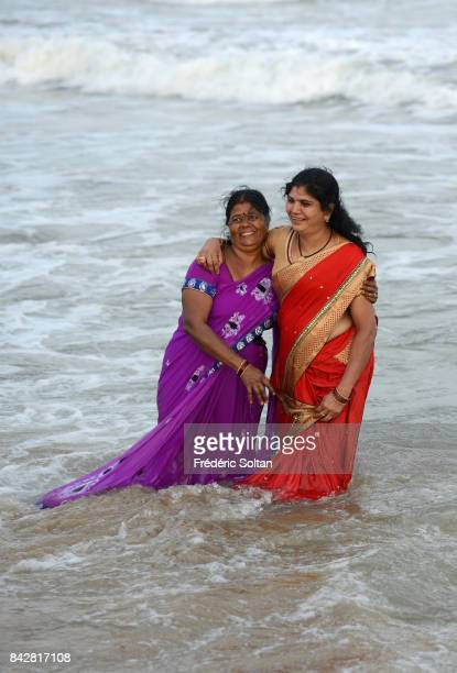 The beach of Mahabalipuram on the Gulf of Bengal in the Indian state of Tamil Nadu on January 22 2017 in India