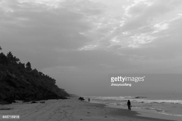 the beach of trivandrum' india - thiruvananthapuram stock photos and pictures