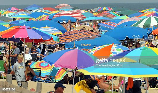 The beaches along the Maryland and Delaware shores are packed with people on the unofficial last weekend of summer Umbrellas stretch to the sea at...