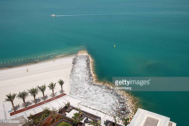 The beachfront is seen from a property at the Al Muneera development during a media tour organized by Aldar Properties PJSC Abu Dhabi's biggest real...