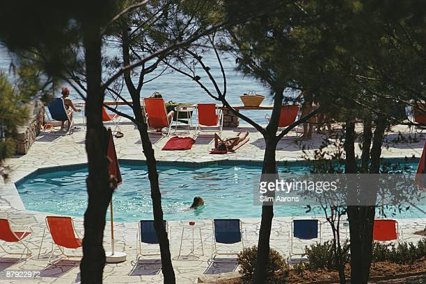 The beachside pool at the Hotel Il Pellicano in Porto Ercole Tuscany August 1973