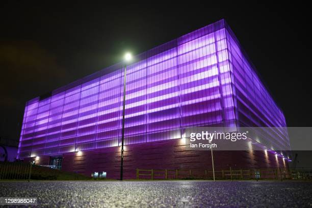 The Beacon of Light building in Sunderland is bathed in purple light to commemorate Holocaust Memorial Day on January 27, 2021 in Sunderland,...