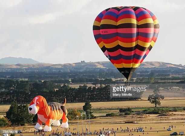 The Beagle Maximus Hot Air Balloon lifts off as part of the mass ascension during the Wairarapa International Hot Air Balloon Festival at Carterton...