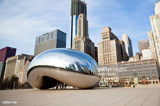 the bean at millennium park - cloud gate stock photos and pictures