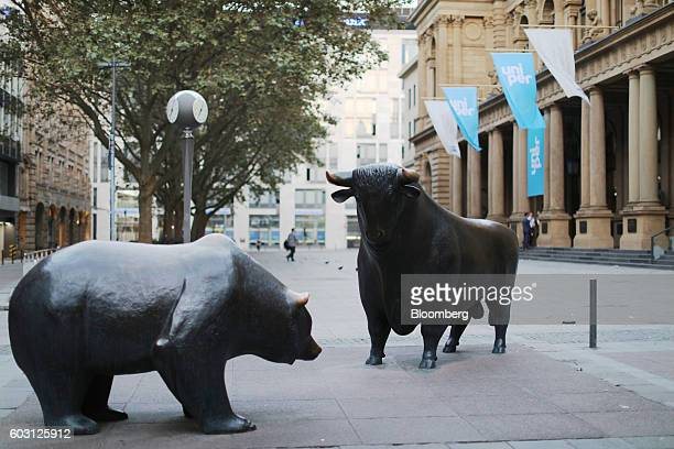 The bear and bull statues stand outside the Frankfurt Stock Exchange as Uniper SE makes its initial public offering in Frankfurt Germany on Monday...
