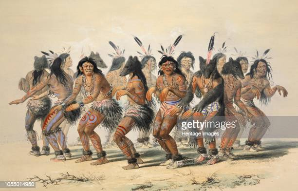 The Bear Dance from Catlin's North American Indian Portfolio Hunting Scenes and Amusements of the Rocky Mountains and Prairies of America pub 1845...
