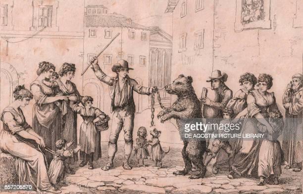 The Bear Dance in Rome etching by Bartolomeo Pinelli 21x30 cm from Raccolta di cinquanta costumi pittoreschi incisi all'acquaforte Lorenzo Lazzari...