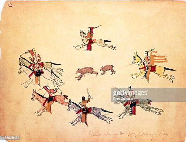 'The Bear Hunt' 1875 Drawing by Making Medicine a Cheyenne while held prisoner at Fort Marion Florida Mounted Cheyenne warriors hunt a bear and cub...