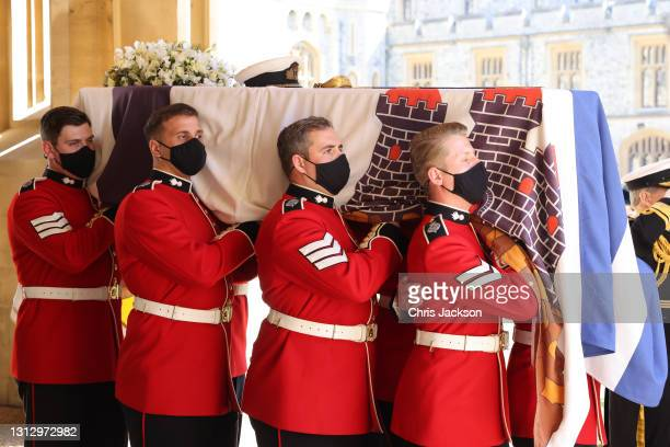 The bearer Party found by The Queen's Company, 1st Battalion Grenadier Guards carry the coffin of HRH Prince Philip, Duke of Edinburgh to the purpose...