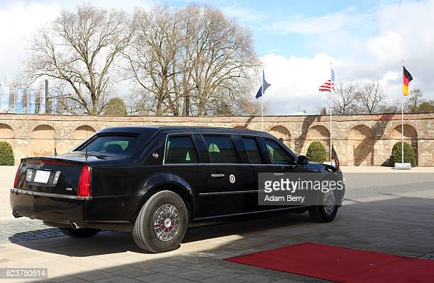 'The Beast' the car used by US President Barack Obama is seen as he meets with German Chancellor Angela Merkel on April 24 2016 in Hanover Germany...