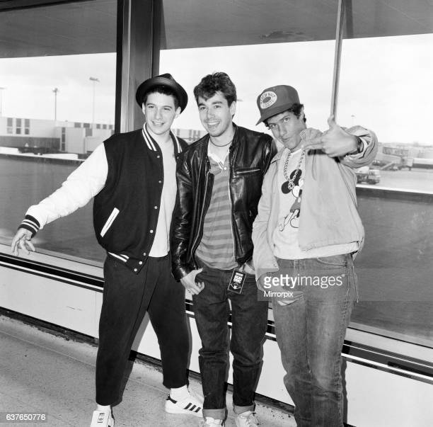 The Beastie Boys Adam Horovitz Adam Yauch and Michael Diamond at London Airport 13th May 1987