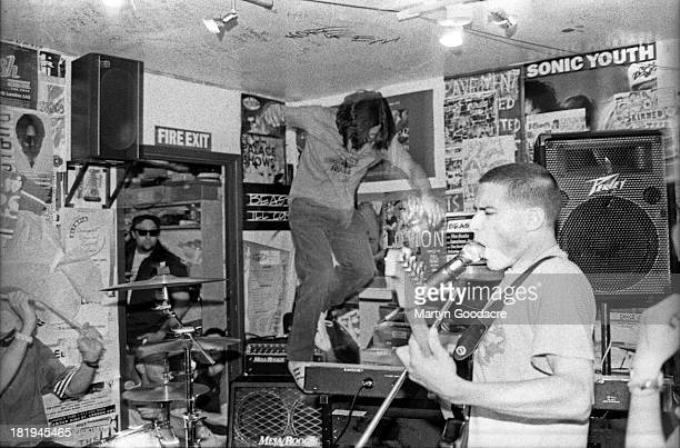 The Beastie Boys perform at a secret gig in the Slam City Skates shop basement Covent Garden London 1994