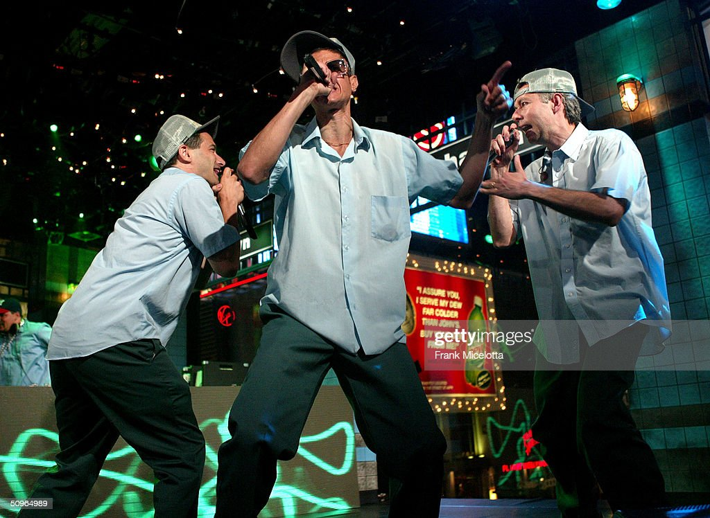 The Beastie Boys perform during a live taping of MTV's 'Live to the 5 Boroughs' in support of their new CD 'To The 5 Boroughs' at the MTV Times Square Studio in New York City.