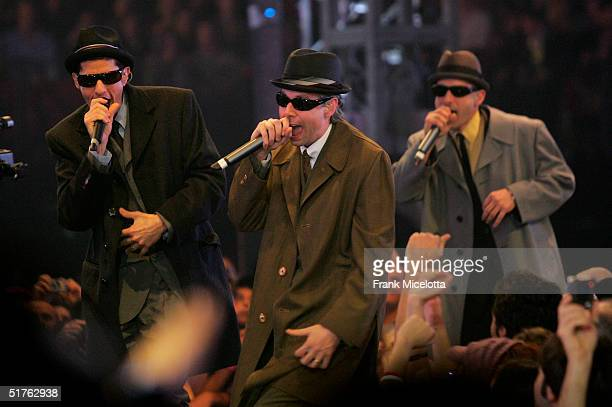 The Beastie Boys perform during the MTV Europe Music Awards 2004 at Tor di Valle November 18, 2004 in Rome, Italy.