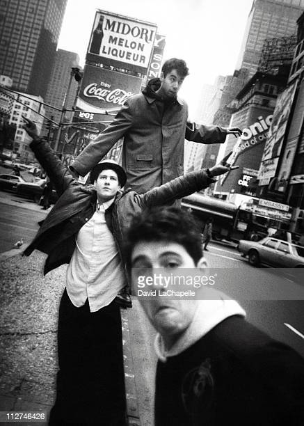 The Beastie Boys photographed in Times Square in New York City