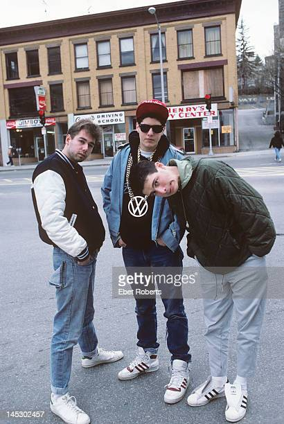 The Beastie Boys pose for a group portrait in Worcester Massachusetts on April 9 1987 LR MCA Mike D wearing a VW car badge as jewellery and AdRock