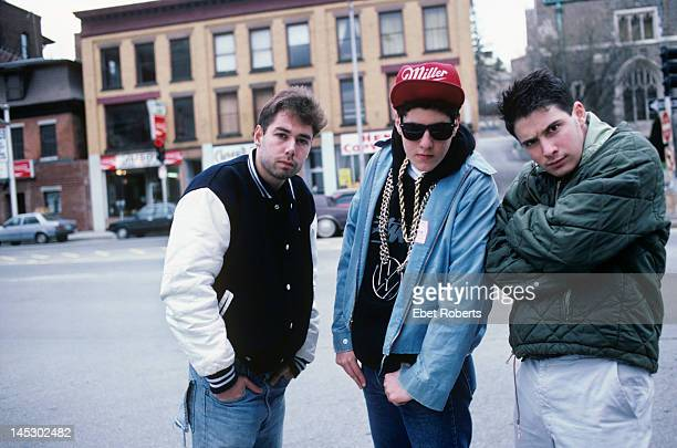 The Beastie Boys pose for a group portrait in Worcester Massachusetts on April 9 1987 LR MCA Mike D and AdRock