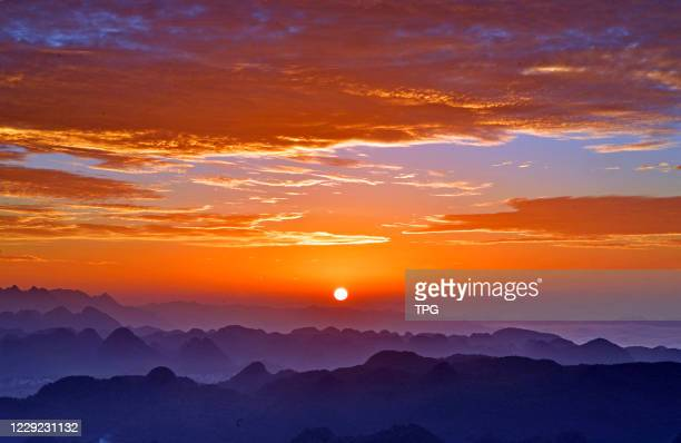 The beatiful evening glows in the sky on 22th October, 2020 in Qujing,Yunnan,China