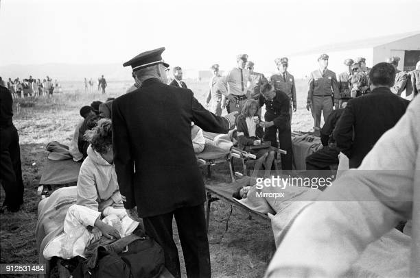 The Beatles 1964 American Tour San Francisco. A young fan on a Stretcher at one of the Casualty station's, 18th August 1964.
