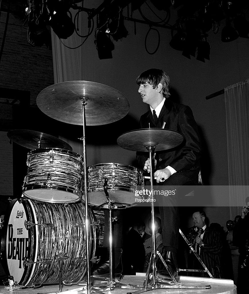 The Beatles 1964 US Tour Drummer Ringo Starr Performs On Stage At A Concert