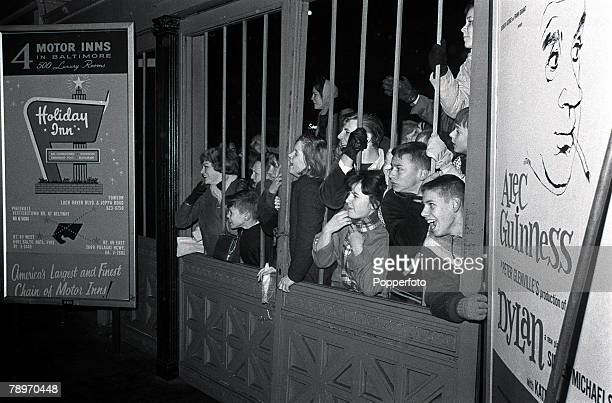 The Beatles 1964 US Tour Enthusiatic young American fans of British pop group The Beatles wait for a glimpse of their idols during the bands concert...