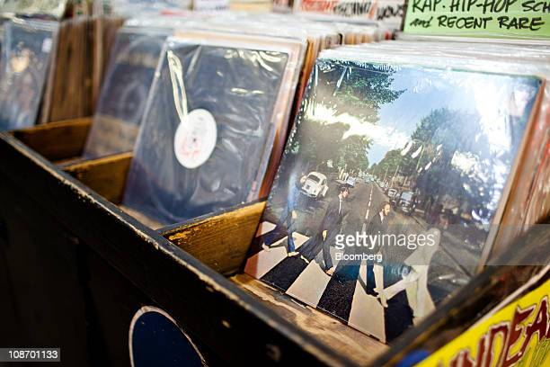 The Beatles Abbey Road album is displayed for sale at Bleeker Bob's record shop in New York US on Tuesday Feb 1 2011 EMI Group Ltd owner of the...