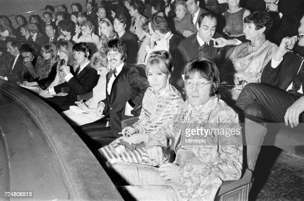 The Beatles and their partners in the front row at the London Pavilion for the premiere of Richard Lester's black comedy 'How I Won the War' 1967...