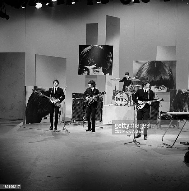 The Beatles appear on The Ed Sullivan Show for the third time. From left: Paul McCartney, John Lennon, Ringo Starr and George Harrison. Image dated...