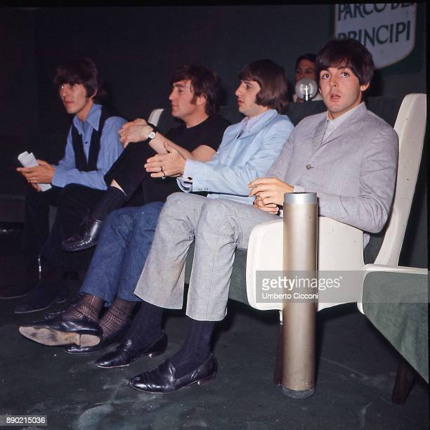 The Beatles are in Rome for the Italian tour they stay at the 'Parco dei Principi Grand Hotel' Rome 1965 Left to right are George Harrison John...