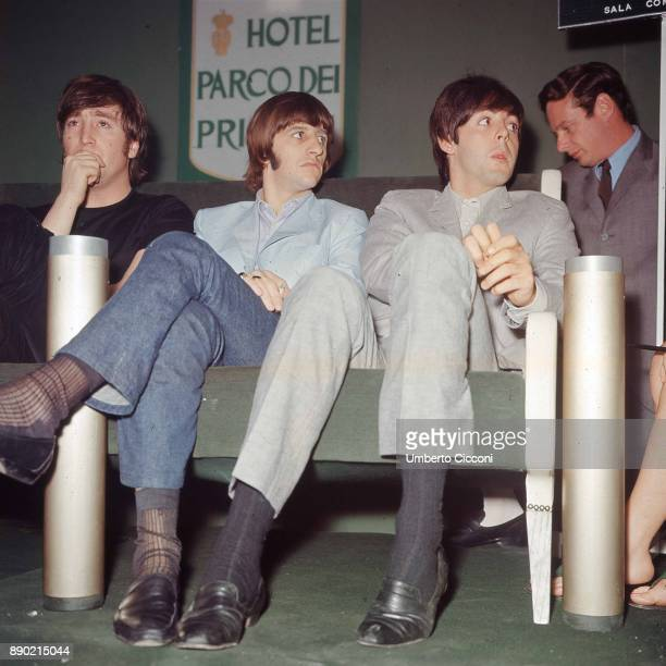 The Beatles are in Rome for the Italian tour they stay at the 'Parco dei Principi Grand Hotel' Rome 1965 Left to right are John Lennon Ringo Starr...
