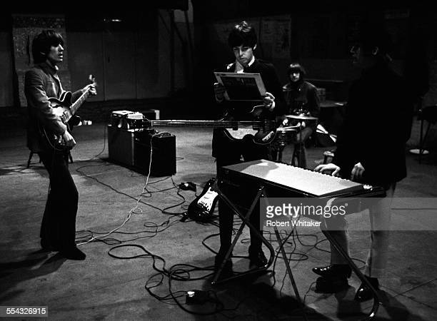 The Beatles are pictured at the Donmar Rehearsal Theatre in central London during rehearsals for their upcoming UK tour Paul McCartney can be seen...